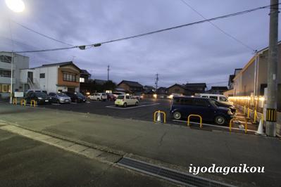 駐車場拡張工事完了 夕方の様子