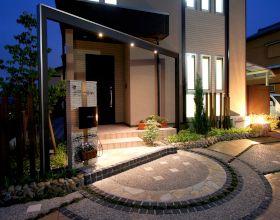 夕暮れも素敵な門廻り オープン外構スタイル・・・豊川市A様邸