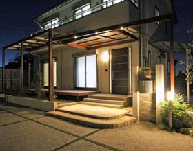 〜広い敷地を上手に活用 電動ガレージと洗い出しの駐車場デザイン 豊橋市 H様邸